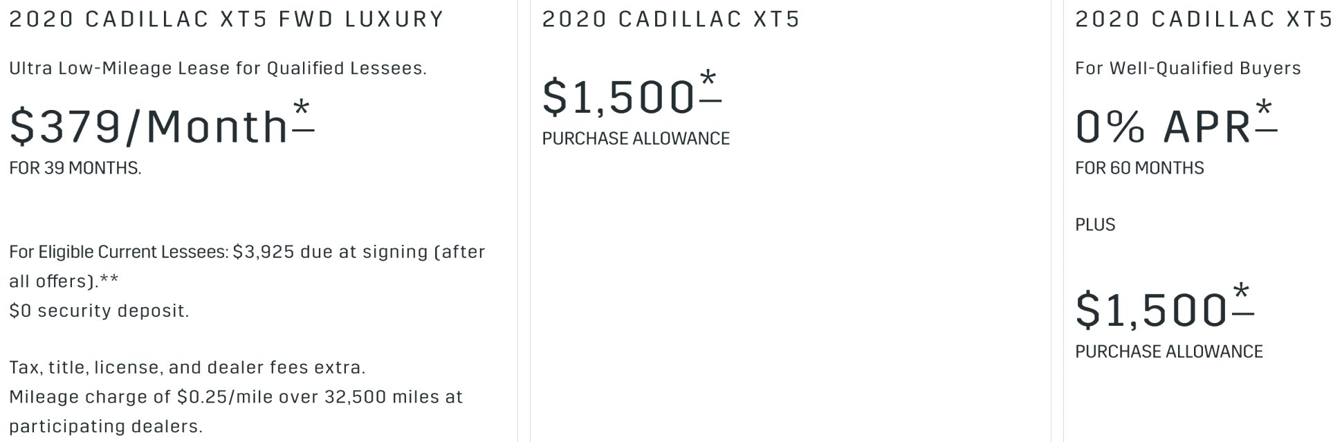 2020 cadillac incentives Release Date